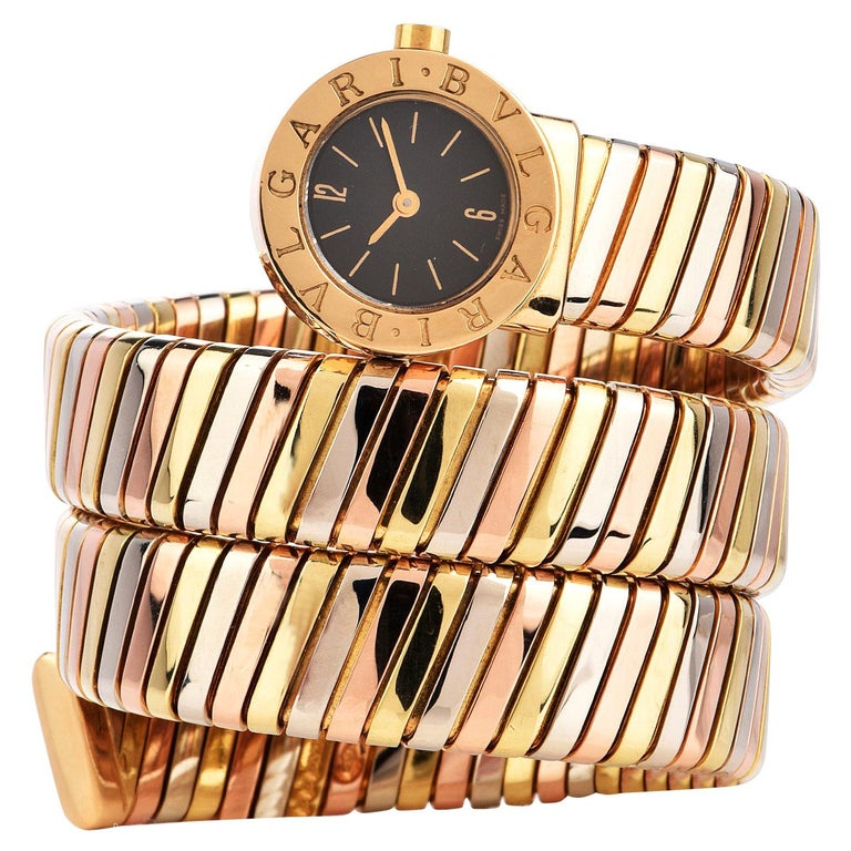 Bvlgari Serpenti Tubogas 18K Tri-Color Gold Bracelet Bulgari Watch For Sale