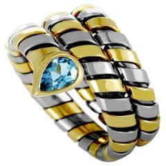 Bvlgari Serpenti Tubogas 18 Karat Gold and Stainless Steel Topaz Spiral Ring