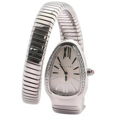 Bvlgari Serpenti Tubogas Single Spiral Quartz Watch Stainless Steel with Diamond