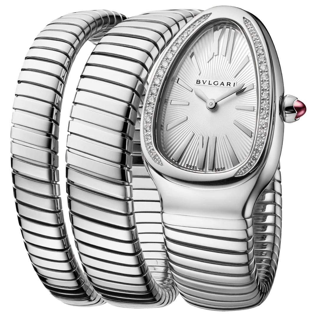 Bvlgari Serpenti Tubogas Stainless Steel and Diamonds Silver Watch