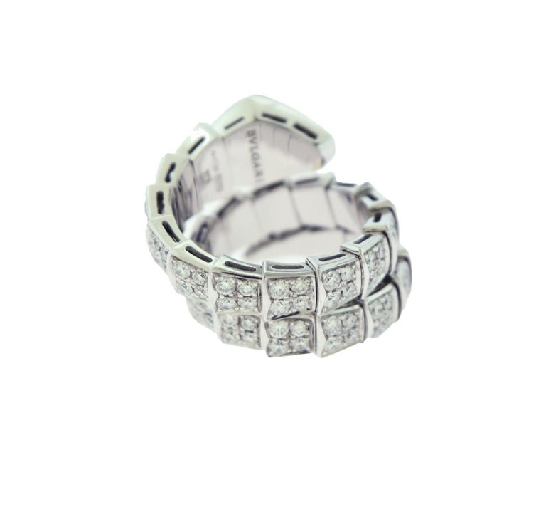 Brand: BVLGARI  Model Name: Serpenti  Metal: White Gold  Metal Purity: 18k  Stones: Round Brilliant Cut Diamonds  Total Carat Weight: approx. 3.0 ct  Size: S (Flexible fit for Small-Large Wrist!)  Total Item Weight (grams): 14.7