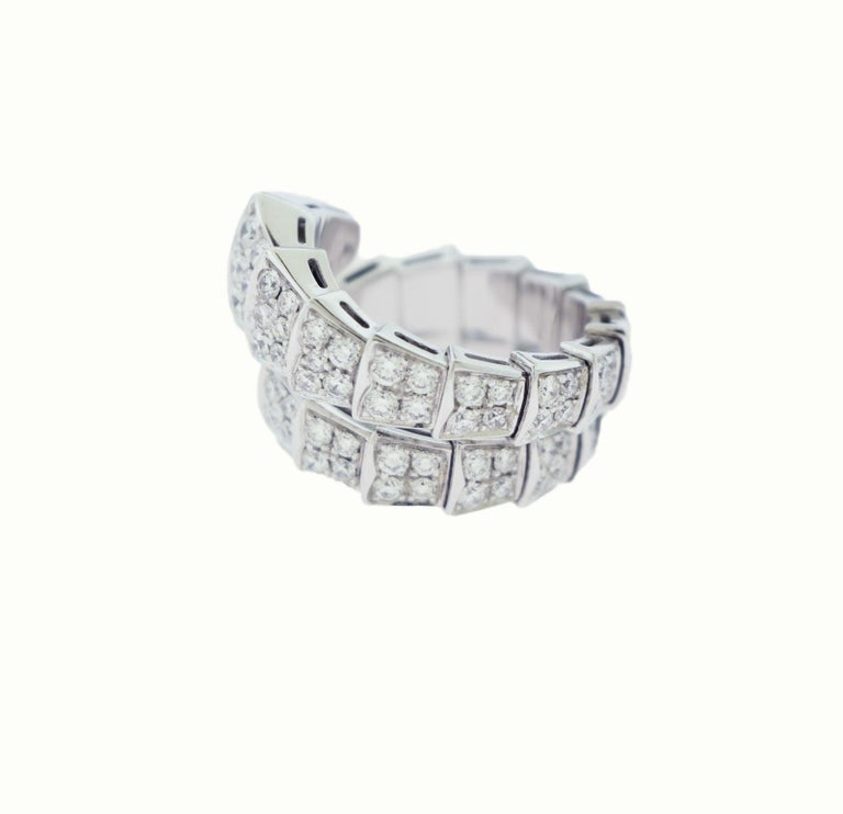 Bvlgari Serpenti Two-Coil Full Diamond Paved White Gold Ring, Size S Flexible In Excellent Condition For Sale In Miami, FL