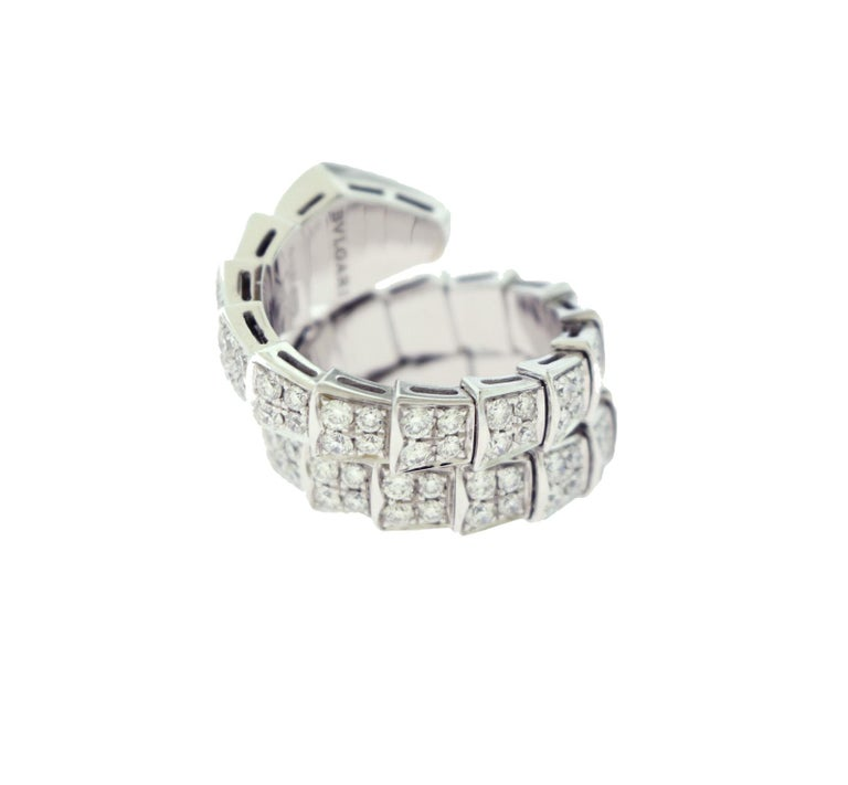 Women's or Men's Bvlgari Serpenti Two-Coil Full Diamond Paved White Gold Ring, Size S Flexible For Sale