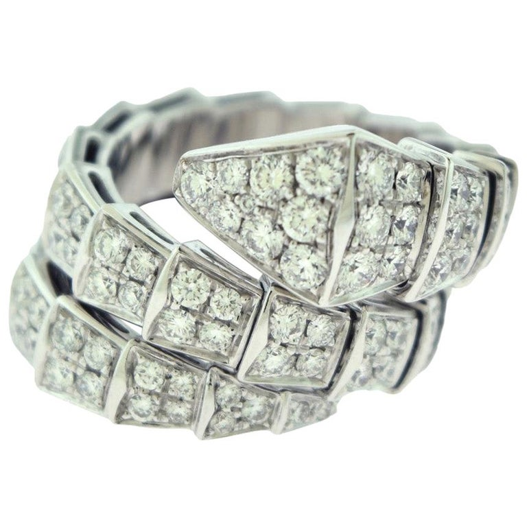 Bvlgari Serpenti Two-Coil Full Diamond Paved White Gold Ring, Size S Flexible For Sale