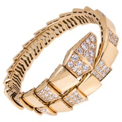 Bvlgari Serpenti Viper Diamond 18K Rose Gold One-Coil Bracelet S