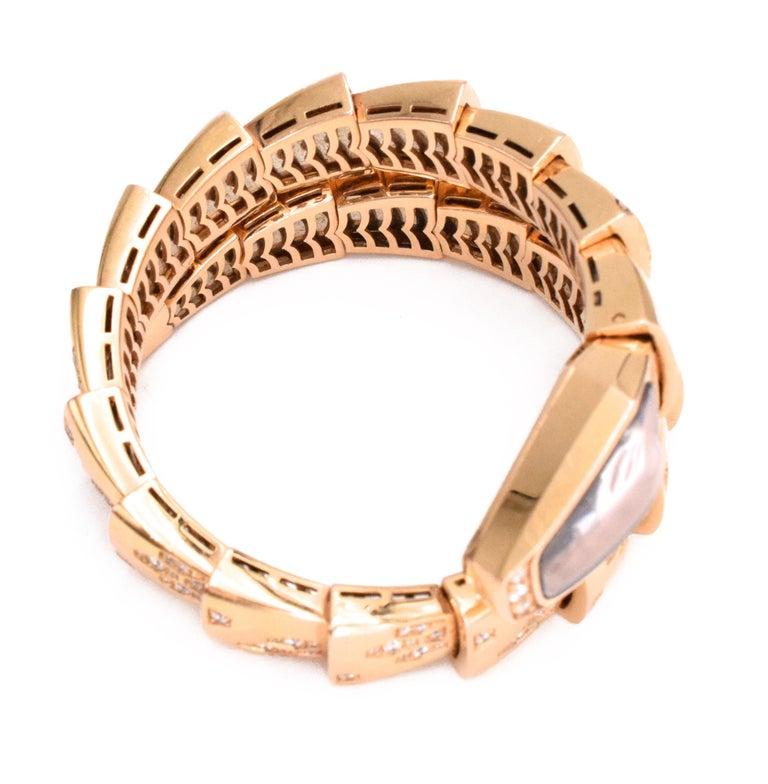 Artist Bulgari Serpenti Bracelet/Wristwatch Mother of Pearl and Diamond For Sale
