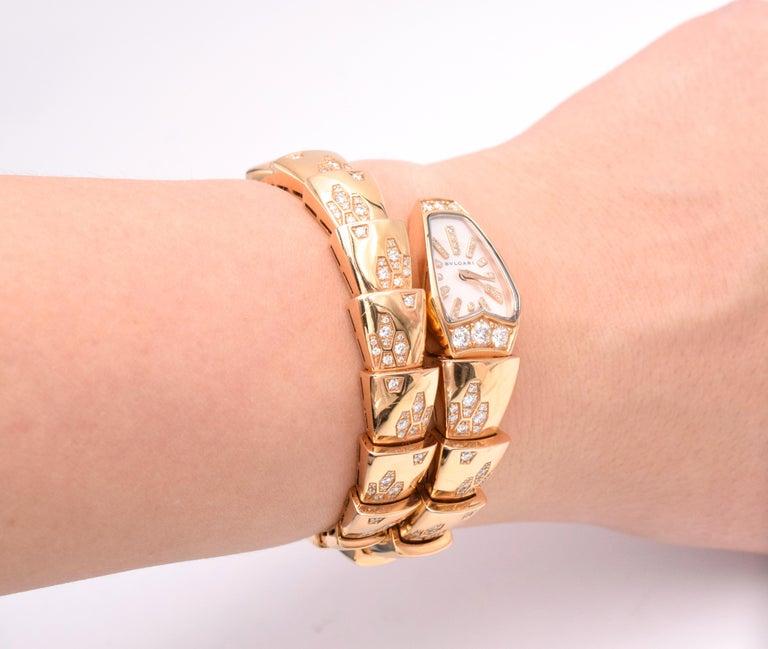 Round Cut Bulgari Serpenti Bracelet/Wristwatch Mother of Pearl and Diamond For Sale