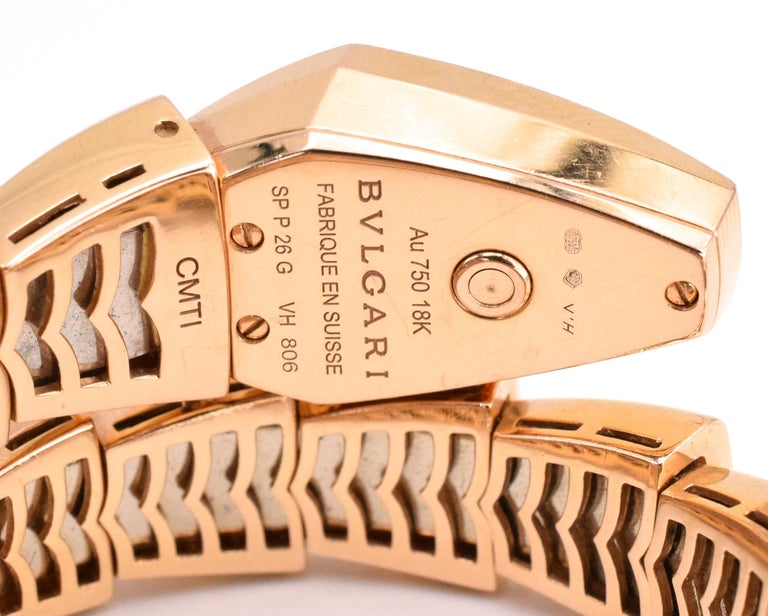 Bulgari Serpenti Bracelet/Wristwatch Mother of Pearl and Diamond In Excellent Condition For Sale In New York, NY