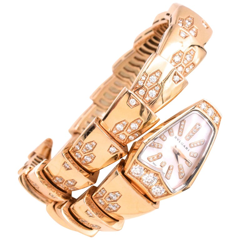 Bulgari Serpenti Bracelet/Wristwatch Mother of Pearl and Diamond For Sale