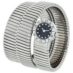 Bvlgari Serpentine Stainless Steel 1980s BB19 Diamond Round Dial Ladies Watch