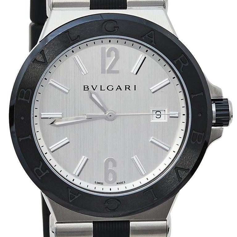 Contemporary Bvlgari Silver Ceramic Diagono 102252 Automatic Men's Wristwatch 42 mm For Sale