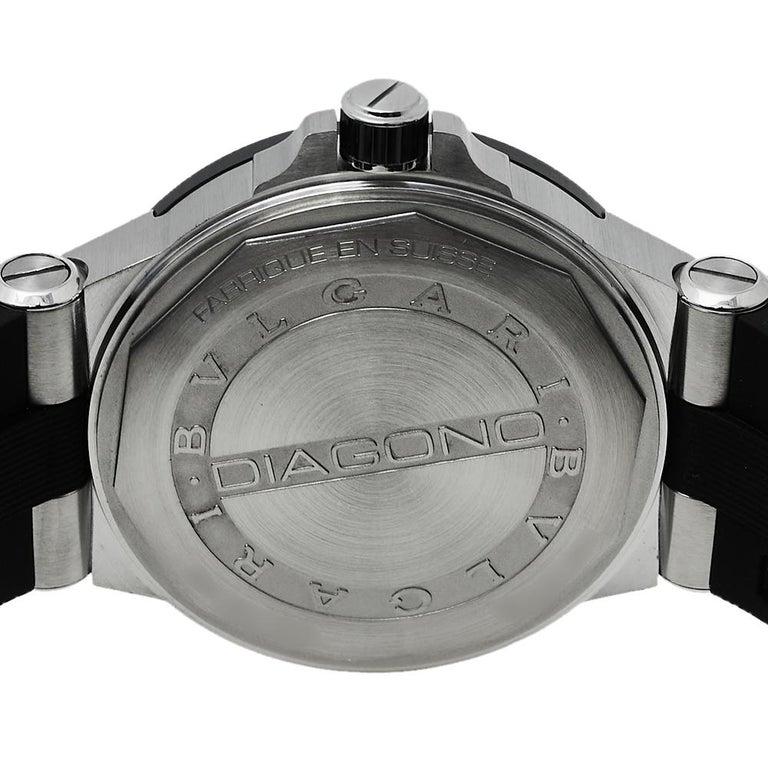Bvlgari Silver Ceramic Diagono 102252 Automatic Men's Wristwatch 42 mm In Excellent Condition For Sale In Dubai, Al Qouz 2