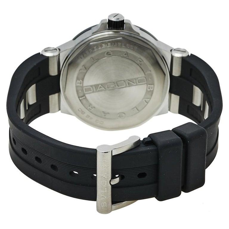 Bvlgari Silver Ceramic Diagono 102252 Automatic Men's Wristwatch 42 mm For Sale 1