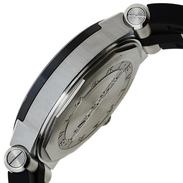 Bvlgari Silver Ceramic Diagono 102252 Automatic Men's Wristwatch 42 mm For Sale 2