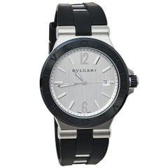 Bvlgari Silver Ceramic Diagono 102252 Automatic Men's Wristwatch 42 mm