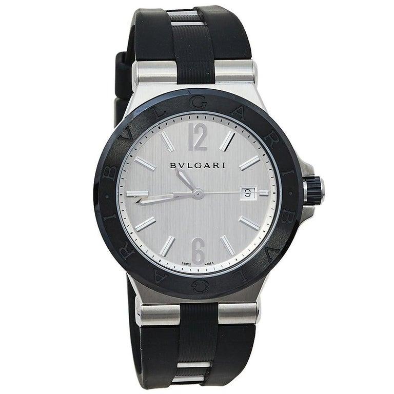 Bvlgari Silver Ceramic Diagono 102252 Automatic Men's Wristwatch 42 mm For Sale