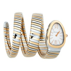 Bvlgari Silver White 18K Rose Gold Stainless Tubogas 102236 WomenWristwatch 35mm