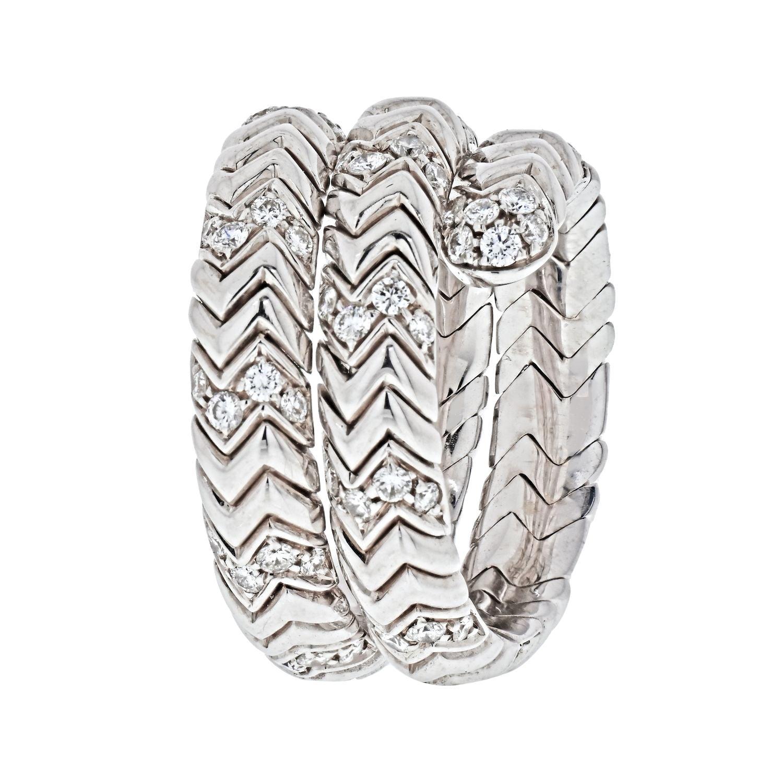 Bvlgari Sipga 18K White Gold Spiga Diamond Wrap Ring