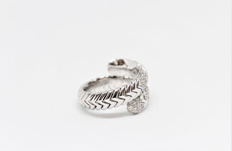 Modern Bvlgari Spiga 18 Carat white Gold Ring For Sale