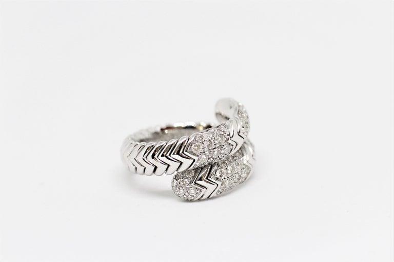 Round Cut Bvlgari Spiga 18 Carat white Gold Ring For Sale