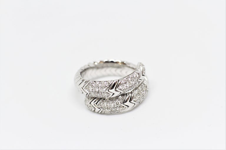 Bvlgari Spiga 18 Carat white Gold Ring In Good Condition For Sale In London, GB