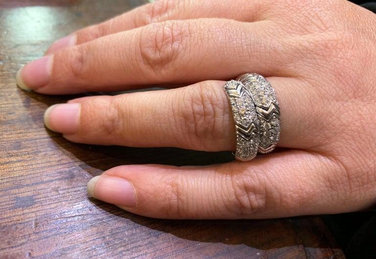 Women's Bvlgari Spiga 18 Carat white Gold Ring For Sale