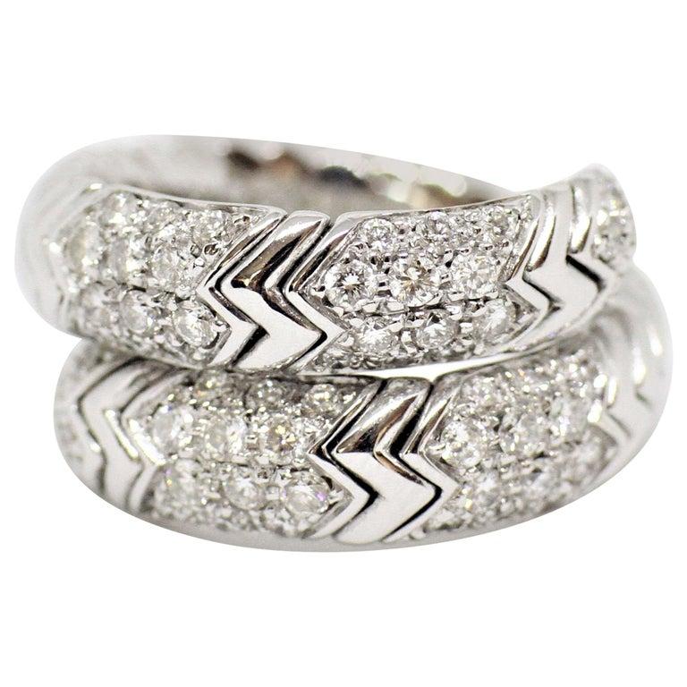 Bvlgari Spiga 18 Carat white Gold Ring For Sale