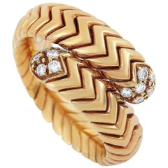 Bvlgari Spiga 18 Karat Rose Gold Diamond Bypass Ring