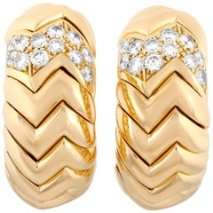 Bvlgari Spiga 18 Karat Yellow Gold 1.27 Carat Diamond Clip-On Earrings
