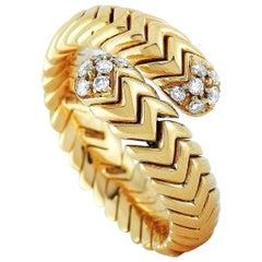 Bvlgari Spiga 18 Karat Yellow Gold and Diamond Bypass Ring