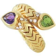 Bvlgari Spiga 18 Karat Yellow Gold Diamond, Amethyst and Peridot Bypass Ring