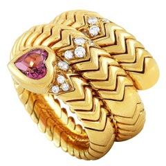 Bvlgari Spiga 18 Karat Yellow Gold Diamond and Pink Tourmaline Bypass Ring