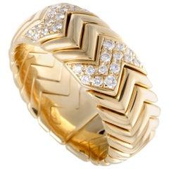 Bvlgari Spiga 18 Karat Yellow Gold Diamond Pave Band Ring