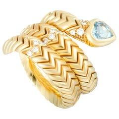Bvlgari Spiga 18 Karat Yellow Gold Diamond Topaz Heart Band Ring