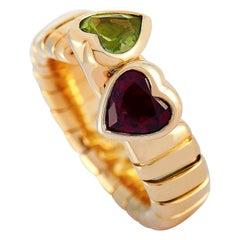 Bvlgari Spiga 18 Karat Yellow Gold Peridot and Garnet Hearts Ring
