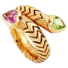Bvlgari Spiga 18 Karat Yellow Gold Peridot and Tourmaline Hearts Ring