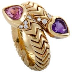 Bvlgari Spiga 18K Yellow Gold Diamond Amethyst and Pink Tourmaline Bypass Ring
