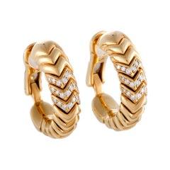 Bvlgari Spiga 18 Karat Yellow Gold Diamond Pave Hoop Clip-On Earrings