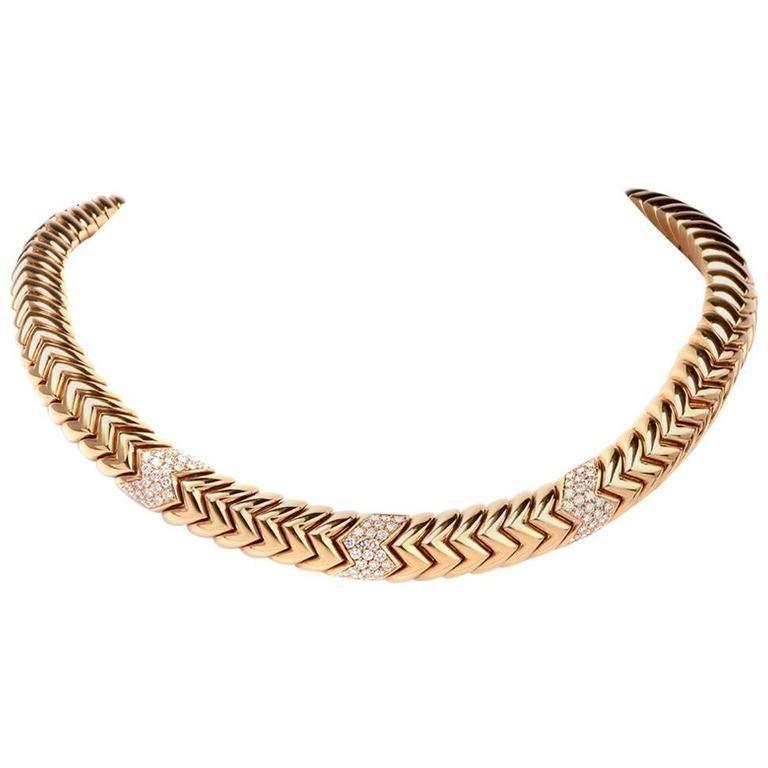 Bvlgari Spiga Diamond Snake Choker Bulgari 18 Karat Gold Necklace