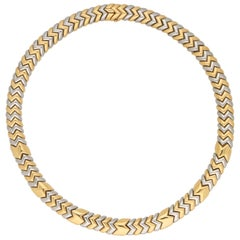 Bvlgari Spiga Necklace in 18 Carat Yellow and White Gold