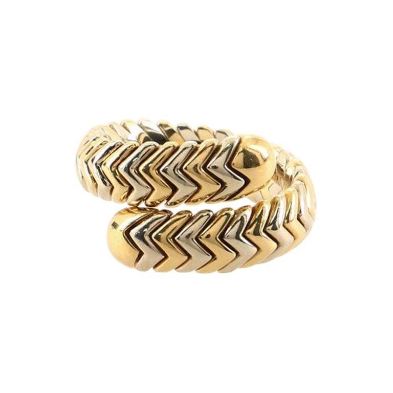 Bvlgari Spiga Single Wrap Ring 18k Yellow Gold and Stainless Steel
