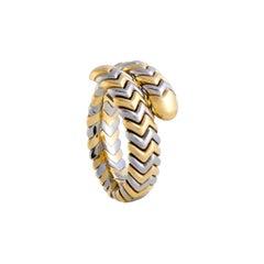 Bvlgari Spiga Stainless Steel and 18 Karat Yellow Gold Band Ring