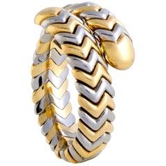 Bvlgari Spiga Stainless Steel and Yellow Gold Band Ring