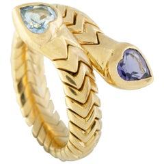 Bvlgari Spiga Topaz and Iolite Hearts Yellow Gold Bypass Ring