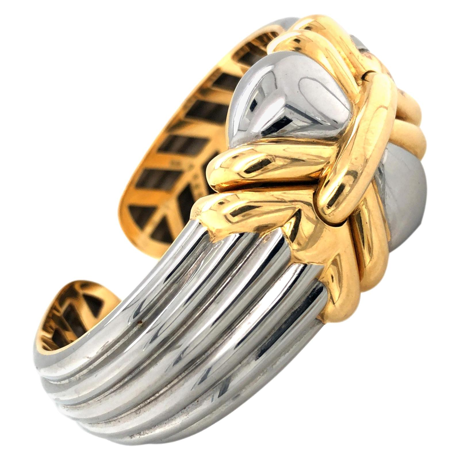 Bvlgari Stainless Steel and Gold Cuff Bracelet