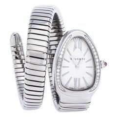 Bvlgari Stainless Steel Diamond Serpenti Tubogas 101910 Women's Wristwatch 35 mm