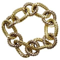 Bvlgari Style 18k Gold Two-Tone Rope Link Bracelet