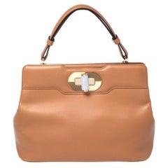Bvlgari Tan Leather Isabella Rossellini Top Handle Bag