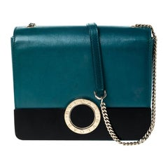 Bvlgari Teal/Black Leather and Perspex Small Flap Cover Shoulder Bag