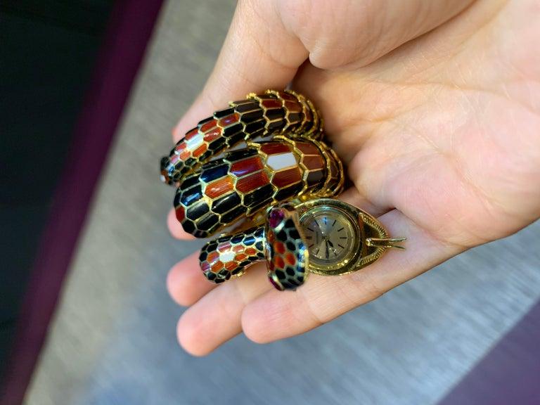 Women's Bvlgari Three-Row Serpenti Gold Watch For Sale